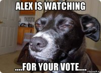 alex is watching ....for your vote....
