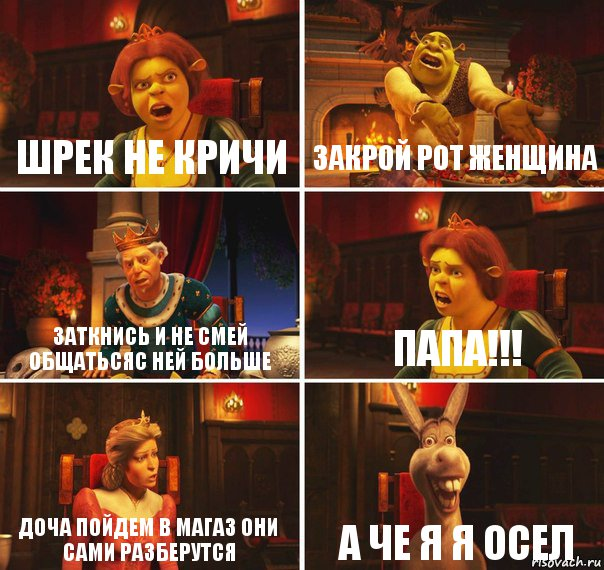 Шрек не кричи Закрой рот женщина Заткнись и не смей ...: http://risovach.ru/kartinka/9337466