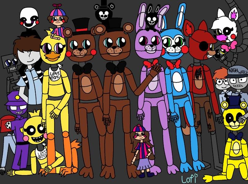Как нарисовать всех аниматроников из фнаф