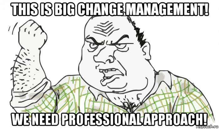 this is big change management! we need professional approach!