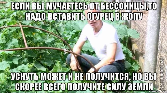 Пихает себе огурец 194