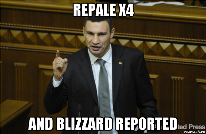 repale x4 and blizzard reported